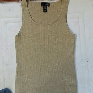 Cable&Guage gold metallic tank top